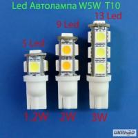 Светодиодная автолампа W5W T10 12V вольт