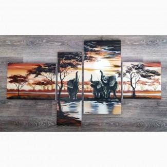 Картина, полиптих Африканские слоны, холст, масло