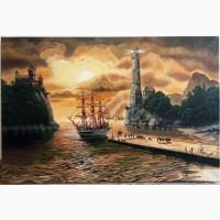 Картина Морской закат, 50х75см, холст, масло