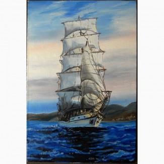 Картина Парусник (холст, масло), 30х40 см