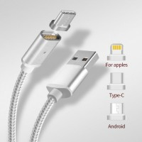 Магнитный кабель 3в1 для зарядки Android, Iphone, Type C Magnetic USB Cable
