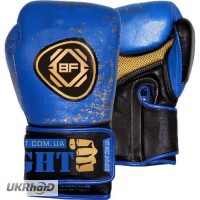 Перчатки сине-желтые BigFight кожа 10ун, 12ун